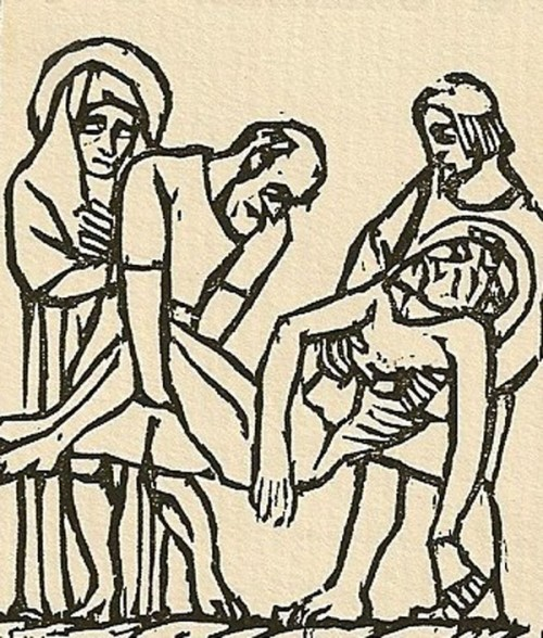 Jean Marchand Woodcut - LAYING JESUS IN THE TOMB